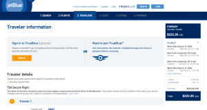 West Palm Beach to NYC: JetBlue Booking Page