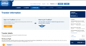 Savannah to NYC: JetBlue Booking Page