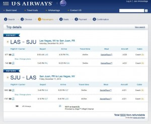 Las Vegas-San Juan: US Airways Booking Page