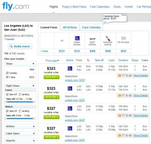 Los Angeles-San Juan: Fly.com Search Results