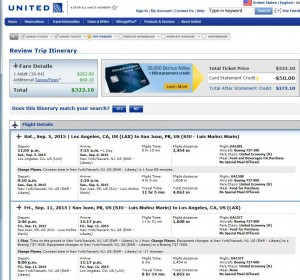 Los Angeles-San Juan: United Booking Page