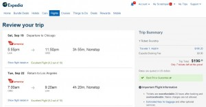 Los Angeles to Chicago: Expedia Booking Page
