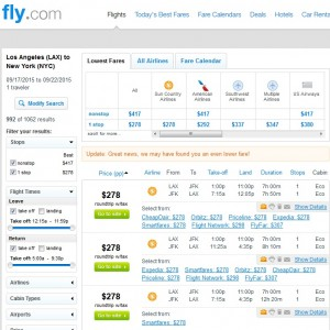 Los Angeles to New York City: Fly.com Results