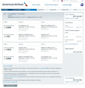 Los Angeles to Orlando: AA Booking Page