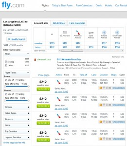 Los Angeles to Orlando: Fly.com Results