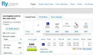 Los Angeles to San Juan: Fly.com Results