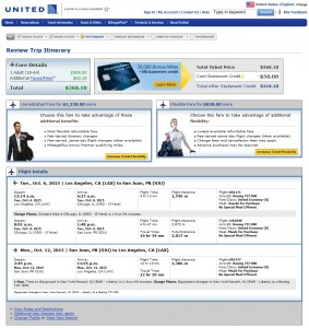 Los Angeles to San Juan: United Booking Page