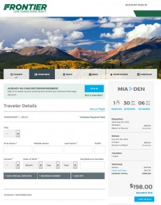 Miami to Denver: Frontier Booking Page