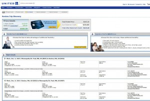Minneapolis-Boston: United Booking Page