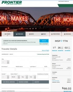 Minneapolis-Trenton: Frontier Booking Page