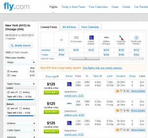 New York City to Chicago: Fly.com Results