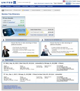 New York City to Chicago: United Booking Page
