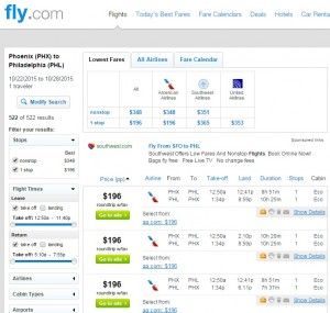 Phoenix to Philadelphia: Fly.com Results