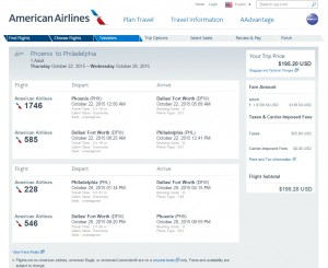 Phoenix to Philadelphia: American Airlines Booking Page