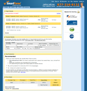 Seattle to Honolulu: SmartFares Booking Page