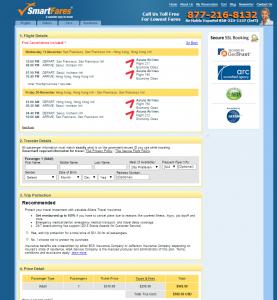 SF to Hong Kong: SmartFares Booking Page