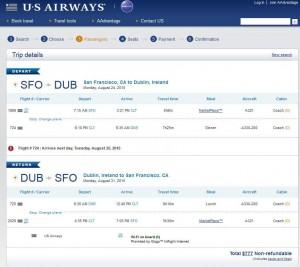 San Francisco-Dublin: US Airways Booking Page