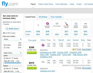 San Jose-Honolulu: Fly.com Search Results