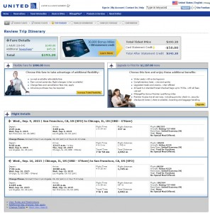 San Francisco to Chicago: United Booking Page