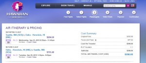 Seattle to Honolulu: Hawaiian Airlines Booking Page
