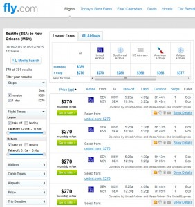 Seattle to New Orleans: Fly.com Results