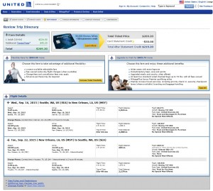 Seattle to New Orleans: United Booking Page