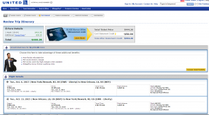 NYC to New Orleans: United Airlines Booking Page
