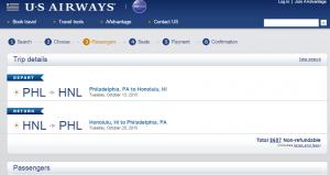 Philadelphia to Honolulu: US Airways Booking Page