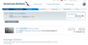 Boston to Los Angeles: American Airlines Booking Page