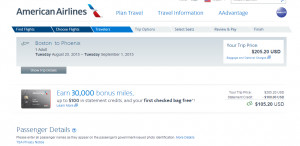 Boston to Phoenix: American Airlines Page