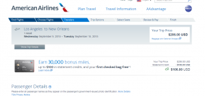 LA to New Orleans: American Airlines Booking Page
