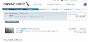 LA to NYC: American Airlines Booking Page