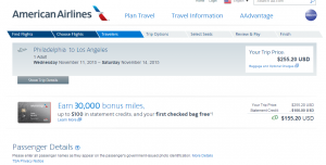 Philadelphia to LA: American Airlines Page