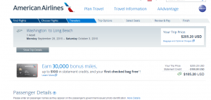 D.C. to Long Beach: American Airlines Booking Page