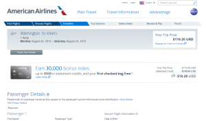 D.C. to Miami: American Airlines Booking Page