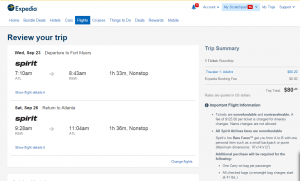Atlanta to Fort Myers: Expedia Booking Page