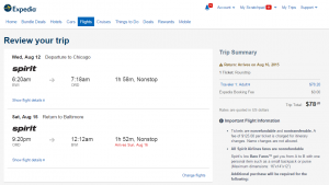 Baltimore to Chicago: Expedia Booking Page