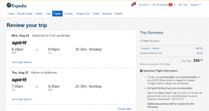 Baltimore to Ft Lauderdale: Expedia Booking Page