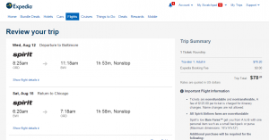 Chicago to Baltimore: Expedia Booking Page