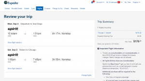 Chicago to San Diego: Expedia Booking Page