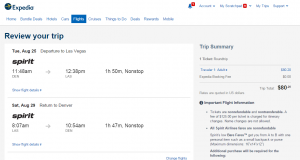 Denver to Las Vegas: Expedia Booking Page