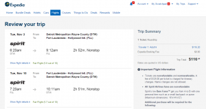Detroit to Fort Lauderdale: Expedia Booking Page