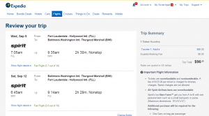 Ft Lauderdale to Baltimore: Expedia Booking Page