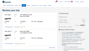 LA to Denver: Expedia Booking Page