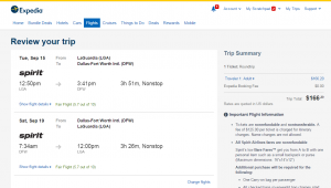 NYC to Dallas: Expedia Booking Page