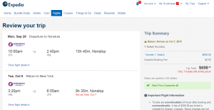 NYC to Honolulu: Expedia Booking Page