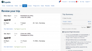 Philly to Chicago: Expedia Booking Page