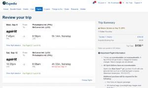Philly to Vegas: Expedia Booking Page
