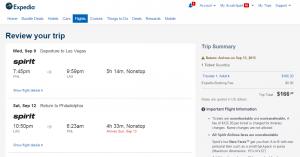 Philadelphia to Las Vegas: Expedia Booking Page