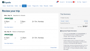 D.C. to Orlando: Expedia Booking Page